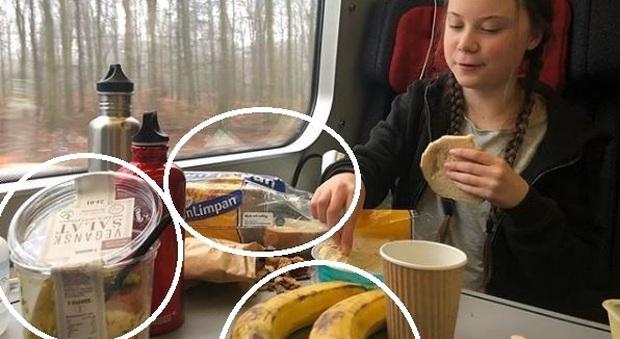 Greta Thunberg, la foto in treno e il pranzo con plastica: attaccata dagli ambientalisti