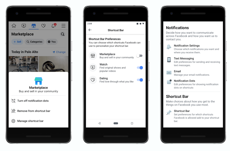 facebook shortcut bar settings