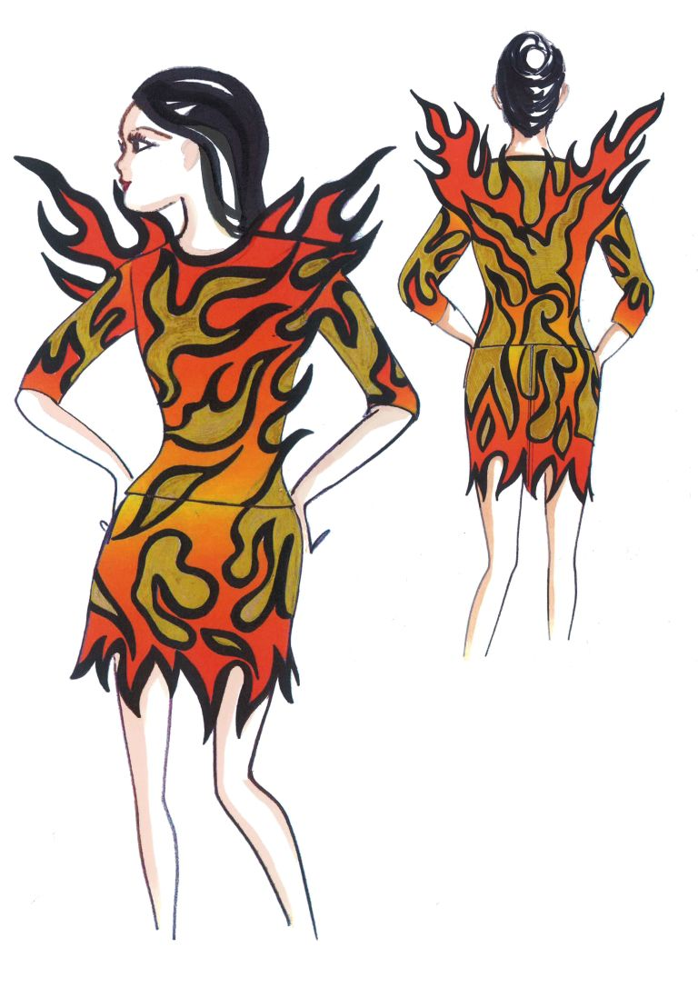 "flame dress"", this eccentric ensemble features flame hems and flame ..."