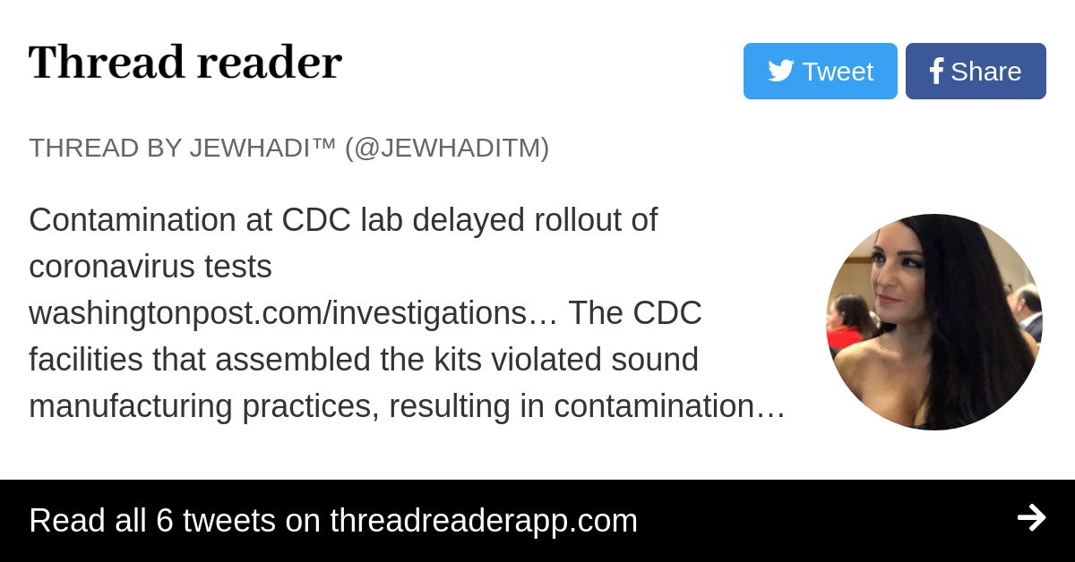 Thread by @JewhadiTM: Contamination at CDC lab delayed ...