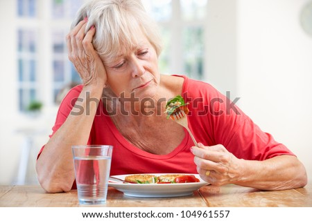 Sick Older Woman Trying Eat Stock Photo (Royalty Free ...