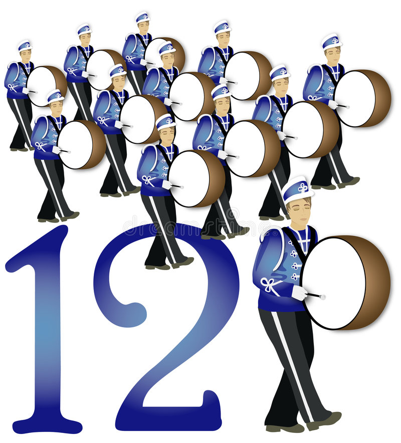 12 Days Of Christmas: 12 Drummers Drumming Stock ...