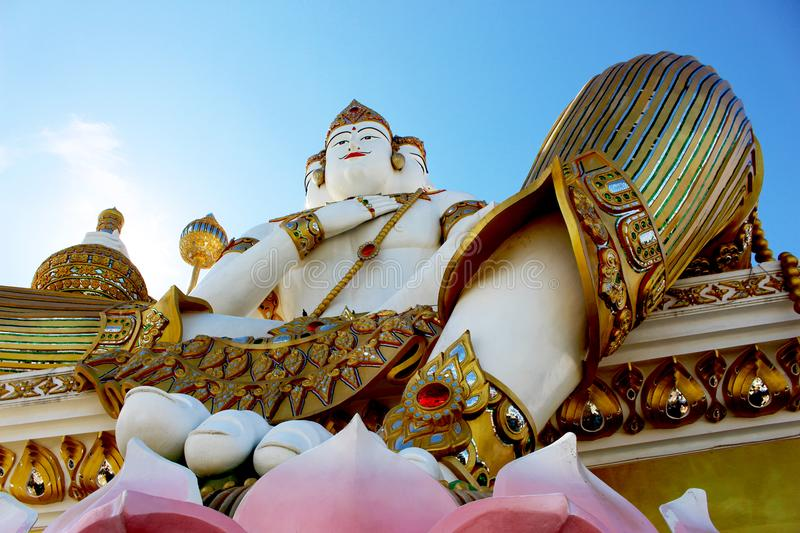 Beautiful Big White Color Of Molding Brahma On Lotus Flowers Groundwork In Daylight Stock Image ...