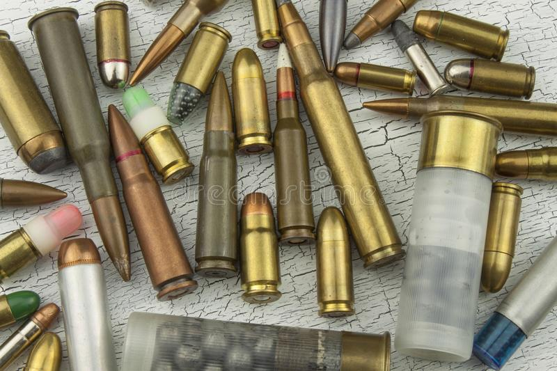 Different Types Of Ammunition. Bullets Of Different ...