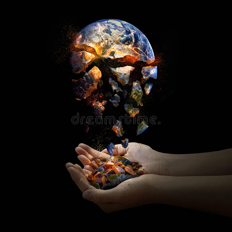Falling apart world. stock photo. Image of planet, fall ...