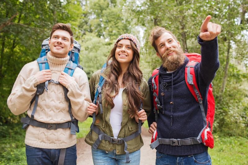 Group Of Smiling Friends With Backpacks Hiking Stock Image ...