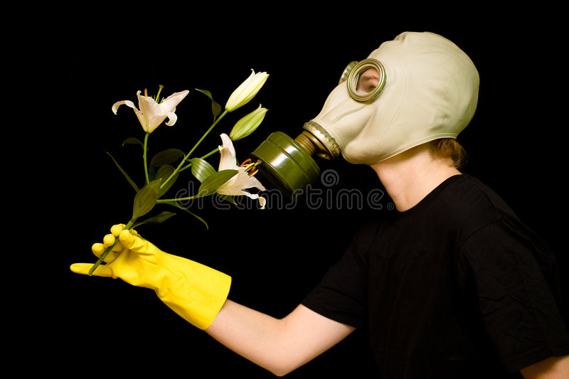 Woman In Respirator With Flower Stock Image - Image of outdoor, environmental: 20760327