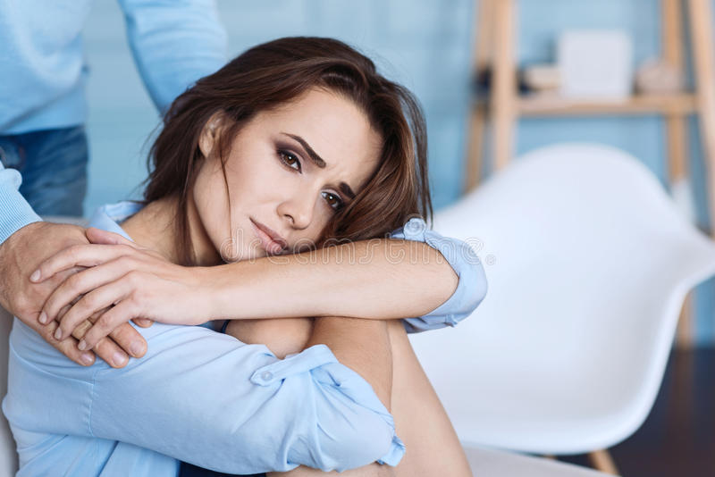 Pleasant Husband Supporting Her Moody Wife. Stock Photo ...