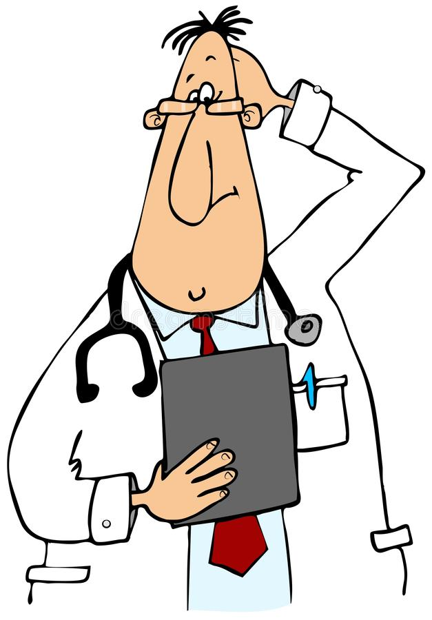 Puzzled Doctor stock illustration. Illustration of ...