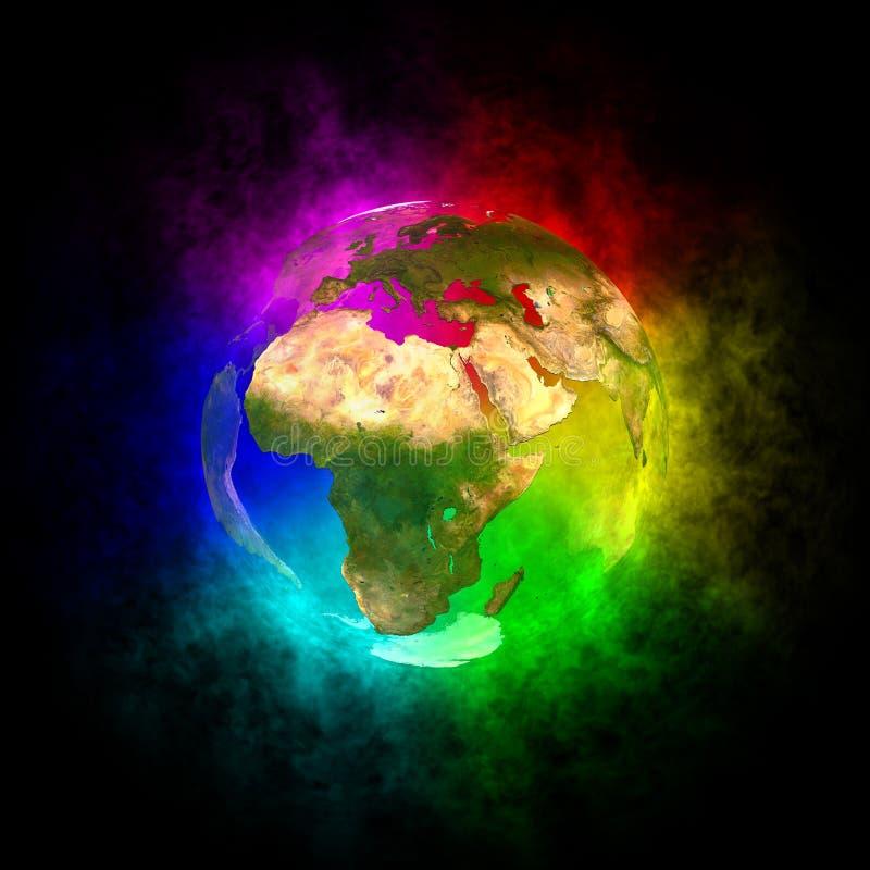 Rainbow Planet Earth - Europe Stock Illustration ...