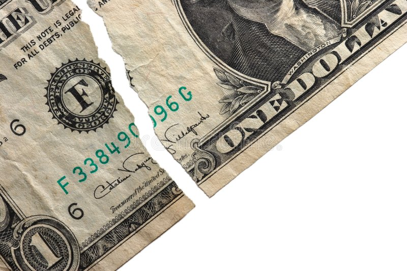 Ripped Dollar stock image. Image of currency, banking ...