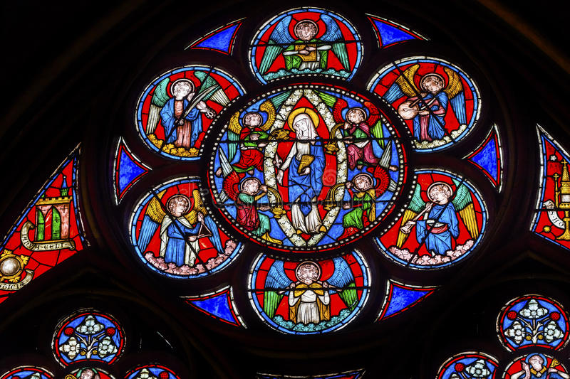 Virgin Mary Angels Stained Glass Notre Dame Paris France ...