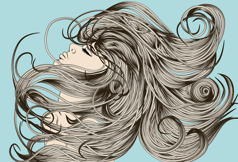 Woman's Face Flipping Detailed Hair Stock Vector ...