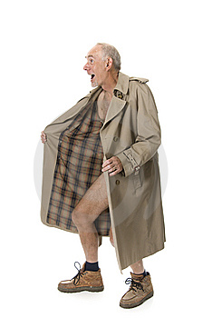 Old man flashing with raincoat cover photo - 12221007 ...