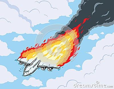 Burning Airplane Royalty Free Stock Images - Image: 30497349