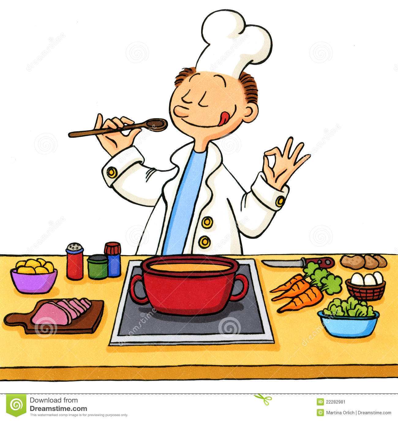 Cartoon Of A Cook In The Kitchen Stock Illustration ...
