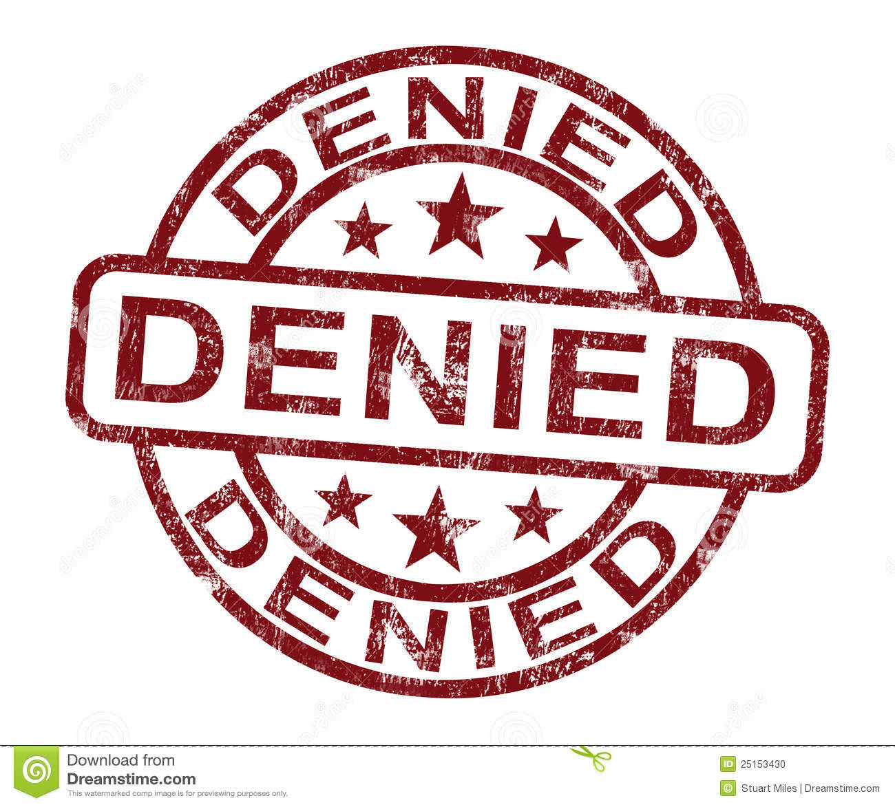 Denied Stamp Showing Rejection Or Refusal Stock Photo - Image: 25153430