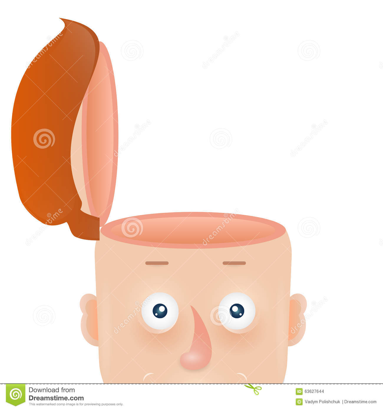 Funny Cartoon Head Of Man With An Open Skull Stock Vector ...