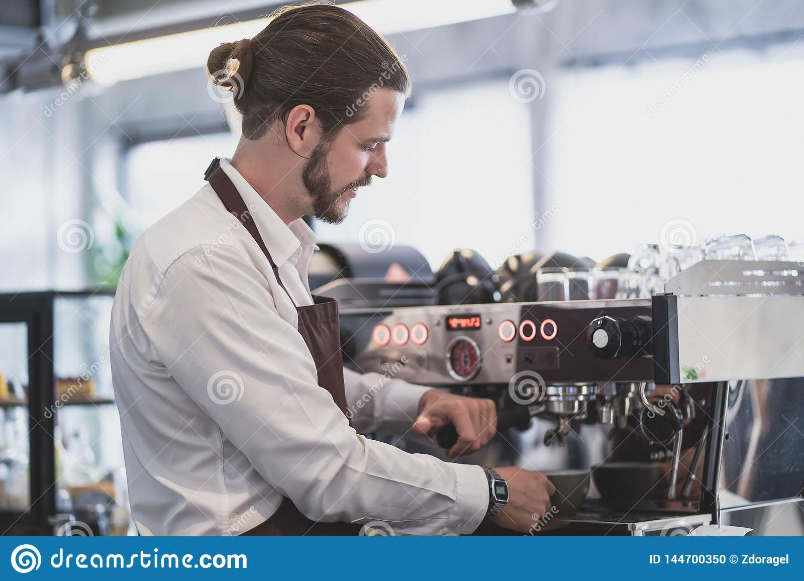 Handsome Hipster Barista Preparing Cup Of Coffee For ...