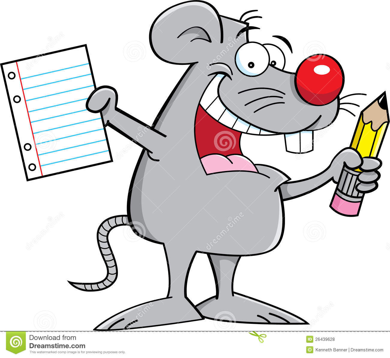 Mouse Holding A Paper And Pencil Stock Vector - Illustration of animal, cartoon: 26439628