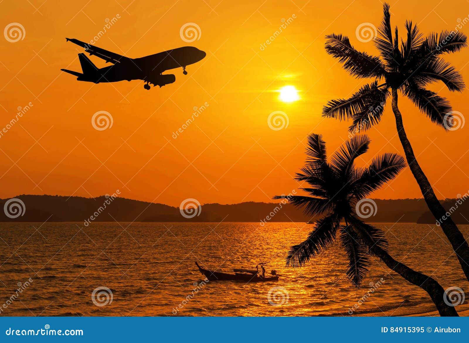 Airplane Flying Over The Beach Cartoon Vector ...