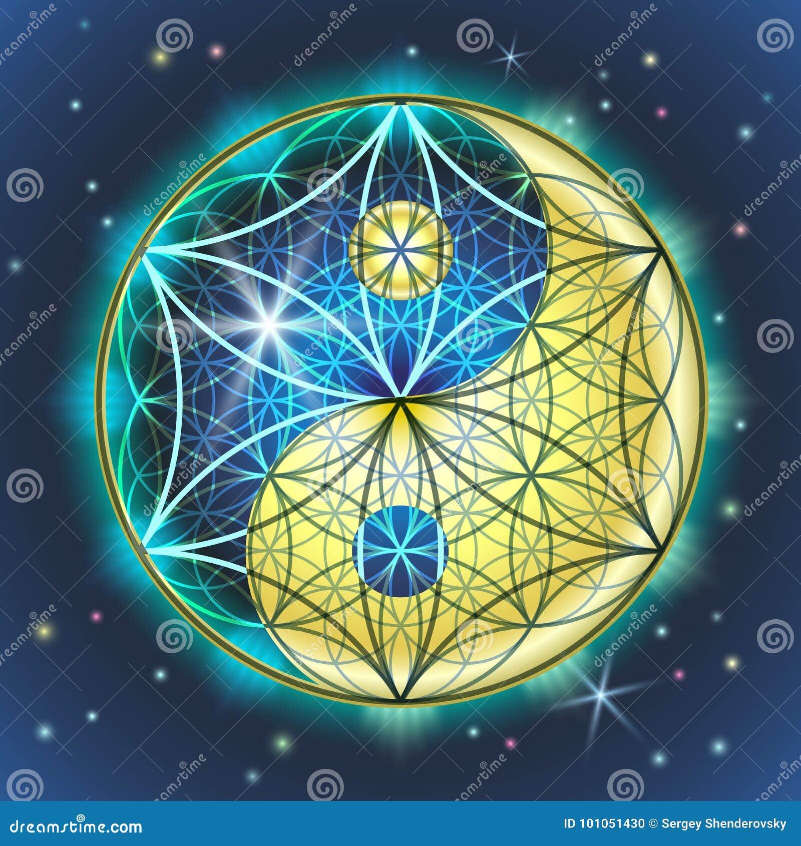 Yin Yang Sacral Geometry stock vector. Illustration of ...