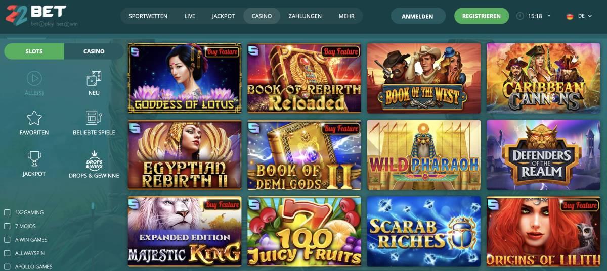 Maiores slots online em 22Bet Casino Online Português