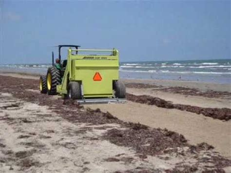Seaweed Removed from Texas Beach By Barber Surf Rake Beach ...