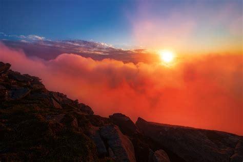 Free Images : backlit, clouds, county mayo, croaghaun, dawn, dusk, fog, ireland, mountain ...