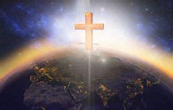 Jesus crucifix above world stock photo. Image of heaven ...