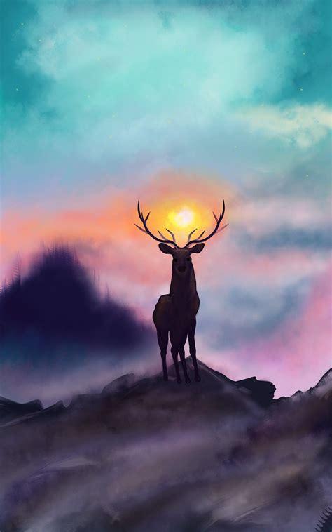 Blurry sky# Sunset# Deer# Fog# Clouds#   Nature ...