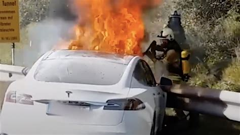 Watch what happens when a Tesla goes up in flames