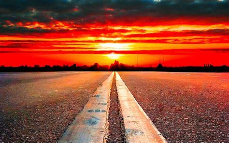 HD Clouds Landscapes Horizon Roads Free Download Wallpaper ...