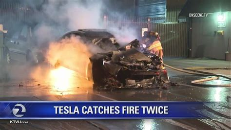 Tesla Model S catches fire twice in a day in Los Gatos - Story | KTVU