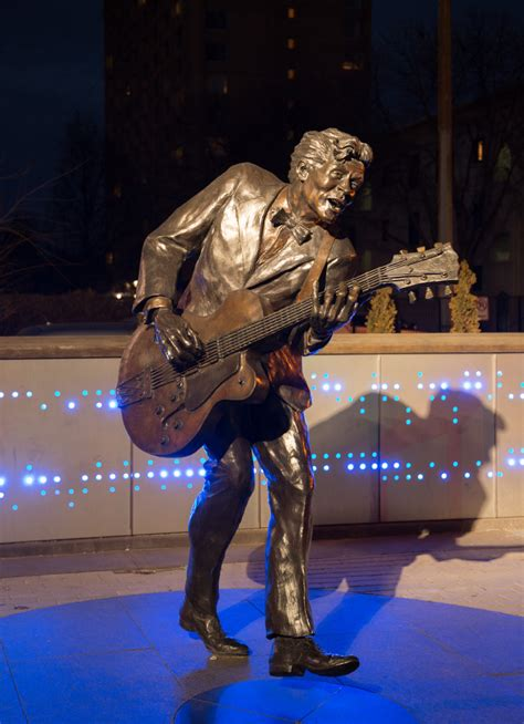 Chuck Berry Statue at Night - Blueberry Hill