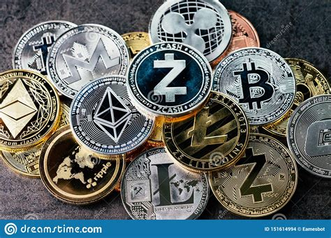 Crypto Currency Background With Various Of Shiny Silver ...