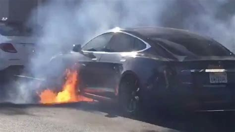 Tesla bursts into flames while director Michael Morris drives it in Hollywood | afr.com