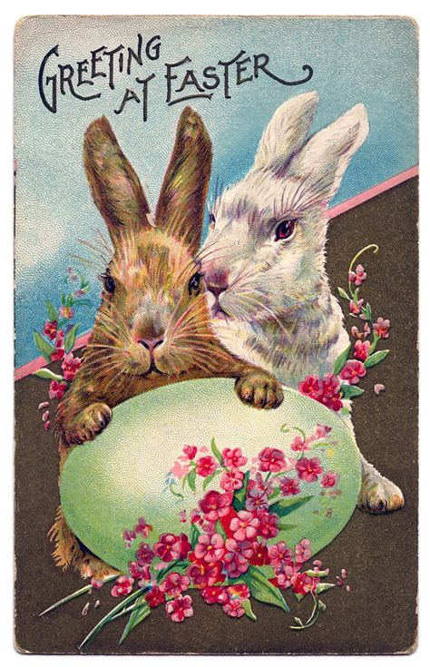 Easter Graphic - Bunnies with Egg and Flowers - The Graphics Fairy