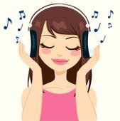 Woman Listening To Music Clip Art | k19527237 | Fotosearch
