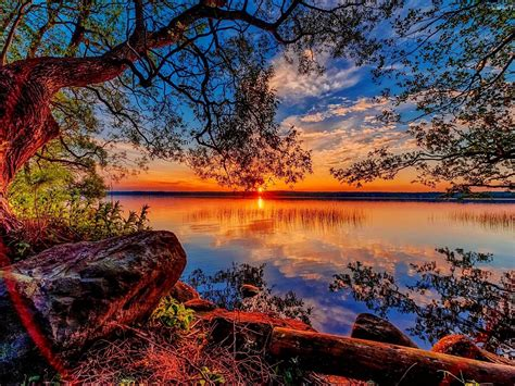 Beautiful Hd Wallpaper Sunset Lake Willow Stones 84318 ...