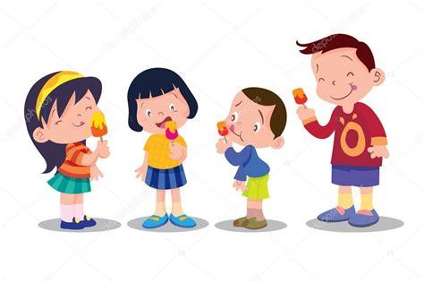Children eat ice cream — Stock Vector © watcartoon #101122386