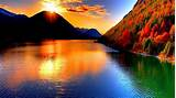 Sunset at Lake Mountain Beautiful Wallpapers HD / Desktop ...