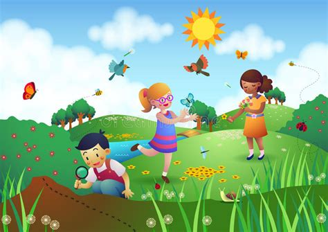 Children Playing In A Garden Stock Illustration ...