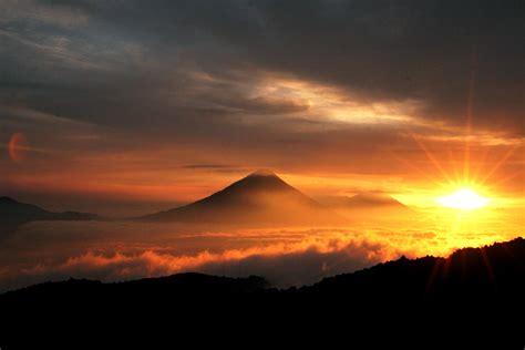 Free picture: beautiful, sunrise, volcanoes, Guatemala