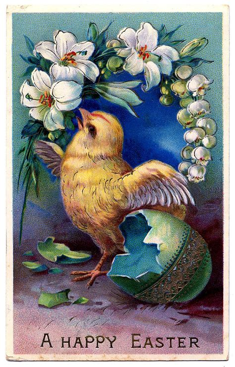 Vintage Easter Clip Art - Sweet Baby Chick with Egg - The Graphics Fairy