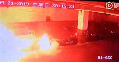 Watch a Tesla Model S Burst Into Flames in a Parking Garage