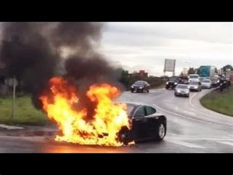 Watch Tesla Model S electric car Catches fire electric car Stock's Plummet, federal ...