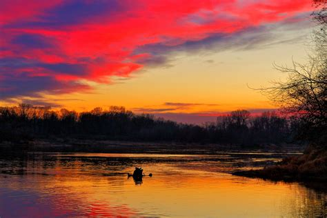 Beautiful sunset over the river-red sky-free photo and ...