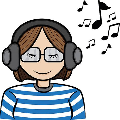 Royalty Free Lady In Glasses With Earphones Listen To ...