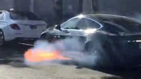 West Wing actress shares video of husband's Tesla catching fire